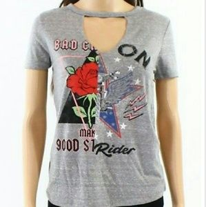 Rebellious One L Gray Graphic Keyhole T Shirt